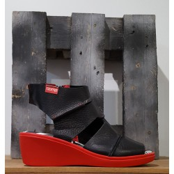 Chaussures compensées femme Clamp MARSH BLACK RED NOIR ROUGE