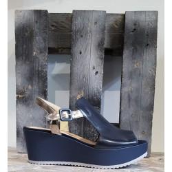 Chaussures femme Sweet Lemon LUTTI bleu marine noir or
