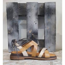 Chaussures femme sandale Sono Italyana cuoio platino