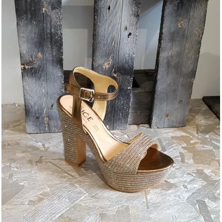 Chaussures femmes Once doré platine bronze glitter