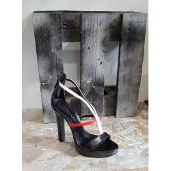 Chaussures femme Vivian noir rouge blanc