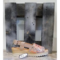 Chaussures femme Lola Canales beige fleuri