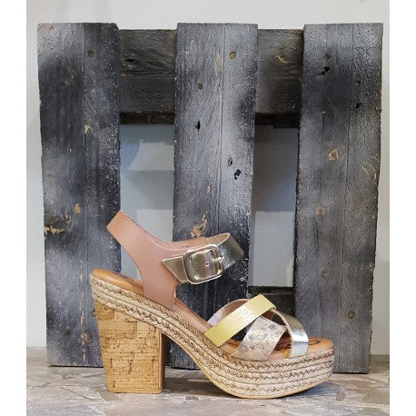 Chaussures femme Lola Canales beige or paille fleuri