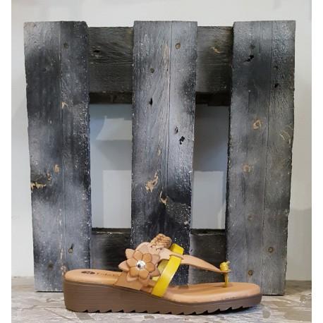 Chaussures femme Lola Canales cuir naturel fleur paille