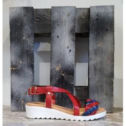 Chaussures femme Lola Canales rouge bleu foncé