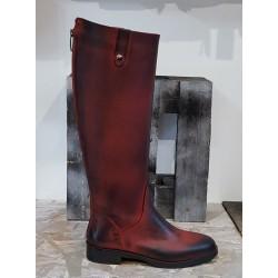 Bottes femme EMANUELE CRASTO patiné noir rouge