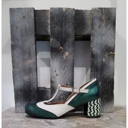 Chaussures femme NEMONIC verte beige