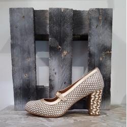 Chaussures femme NEMONIC taupe metal platine