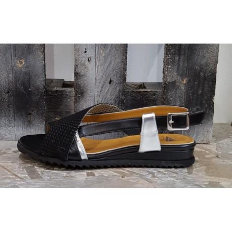 Chaussures sandales femme Vladi noir argent