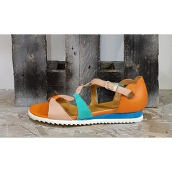 Chaussures sandales femme Vladi rose turquoise