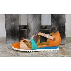 Chaussures sandales femme Vladi rose turquoise