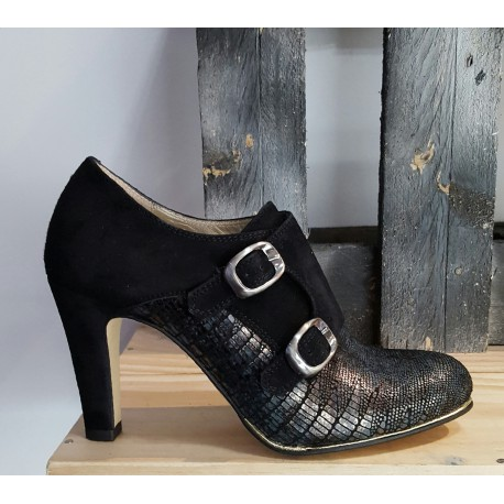 Chaussures femmes nestor amorin noir / bleu nuit / ligne argent