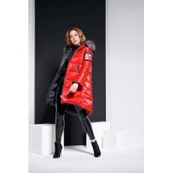 Manteau REVERSIBLE FloClo Italia Noir & Rouge long _ 2 en 1