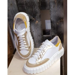Baskets femme Debutto Donna blanche or beige