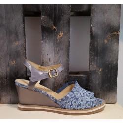 Sandales compensées femme LIBRE COMME L'AIR bleu
