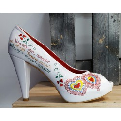 Chaussures femme àlinha blanche rouge