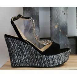 Chaussures compensées femme Spaziomoda Ilaria Toschi noir argent