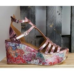Chaussures compensées femme Spaziomoda rose platine