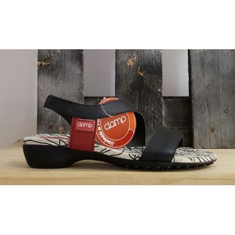 Chaussures femme Clamp noir rouge