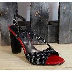Chaussures femme Linea Uno noir pois blanc liseré rouge