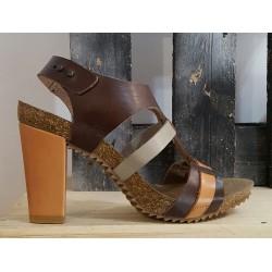 Chaussures femme TABARCA brune brique argent