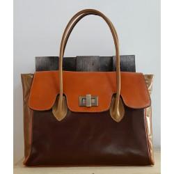 Sac à main femme en cuir marron foncé marron clair taupe