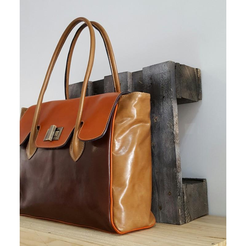 sac main femme en cuir marron fonc marron clair taupe. Black Bedroom Furniture Sets. Home Design Ideas