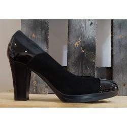Chaussures femme Confort noir verni anthracite