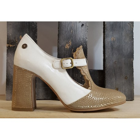 Chaussures femme GOLD BUTTON besca taupe
